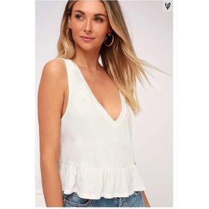 Lulus Kinsey White V Neck Ruffled Crop Top
